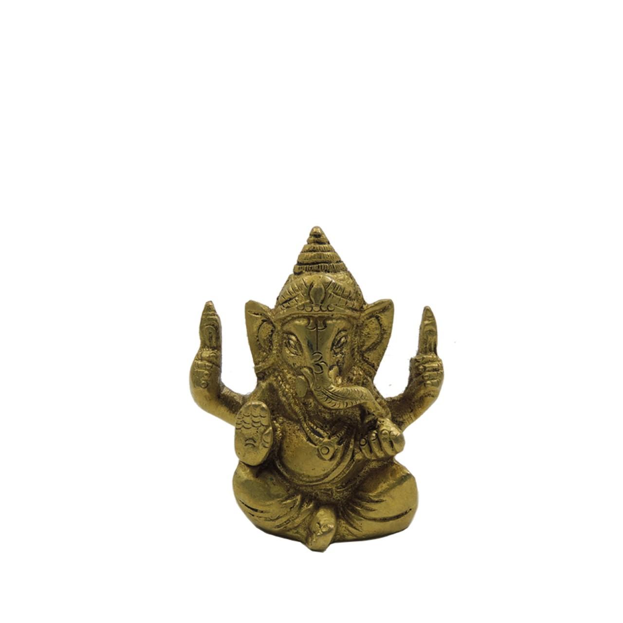 """Messingfigur """"Ganesha"""" ca. 7 cm - goldfarben - Handwerk Indien"""