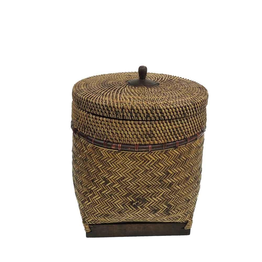 Korb mit Deckel klein - Rattan/Bambus - Handwerk Lombok