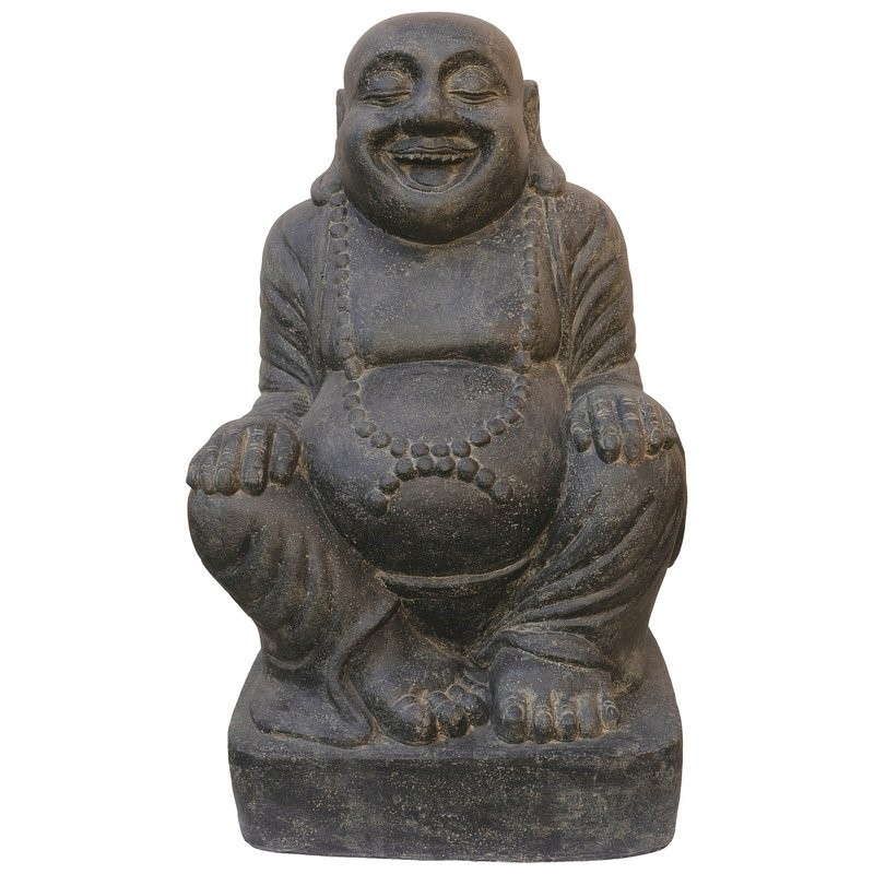 Lucky Buddha sitzend - 100 cm - Steinguss - Indonesien