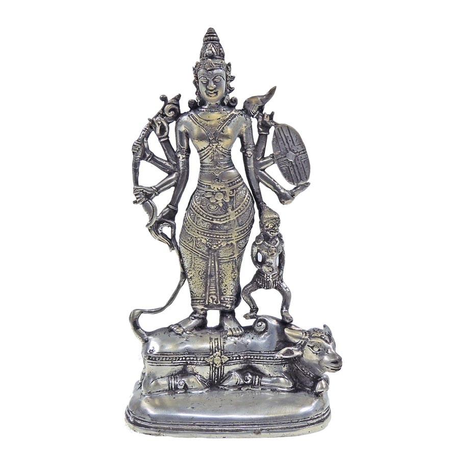 Durga - Bronze Guss versilbert - Unikat