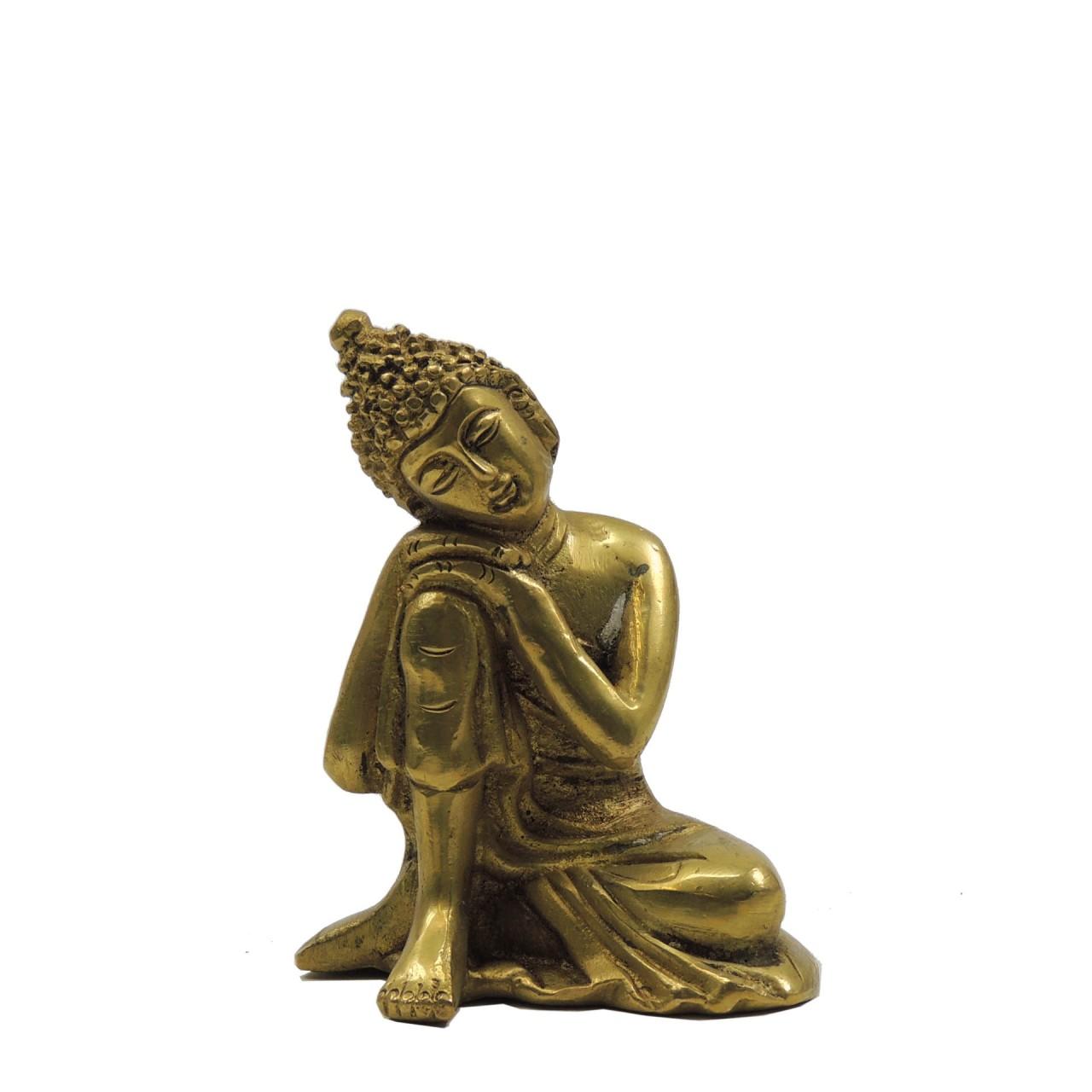 "Messingfigur ""Sleeping Buddha"" ca. 9 cm - goldfarben - Handwerk Indien"