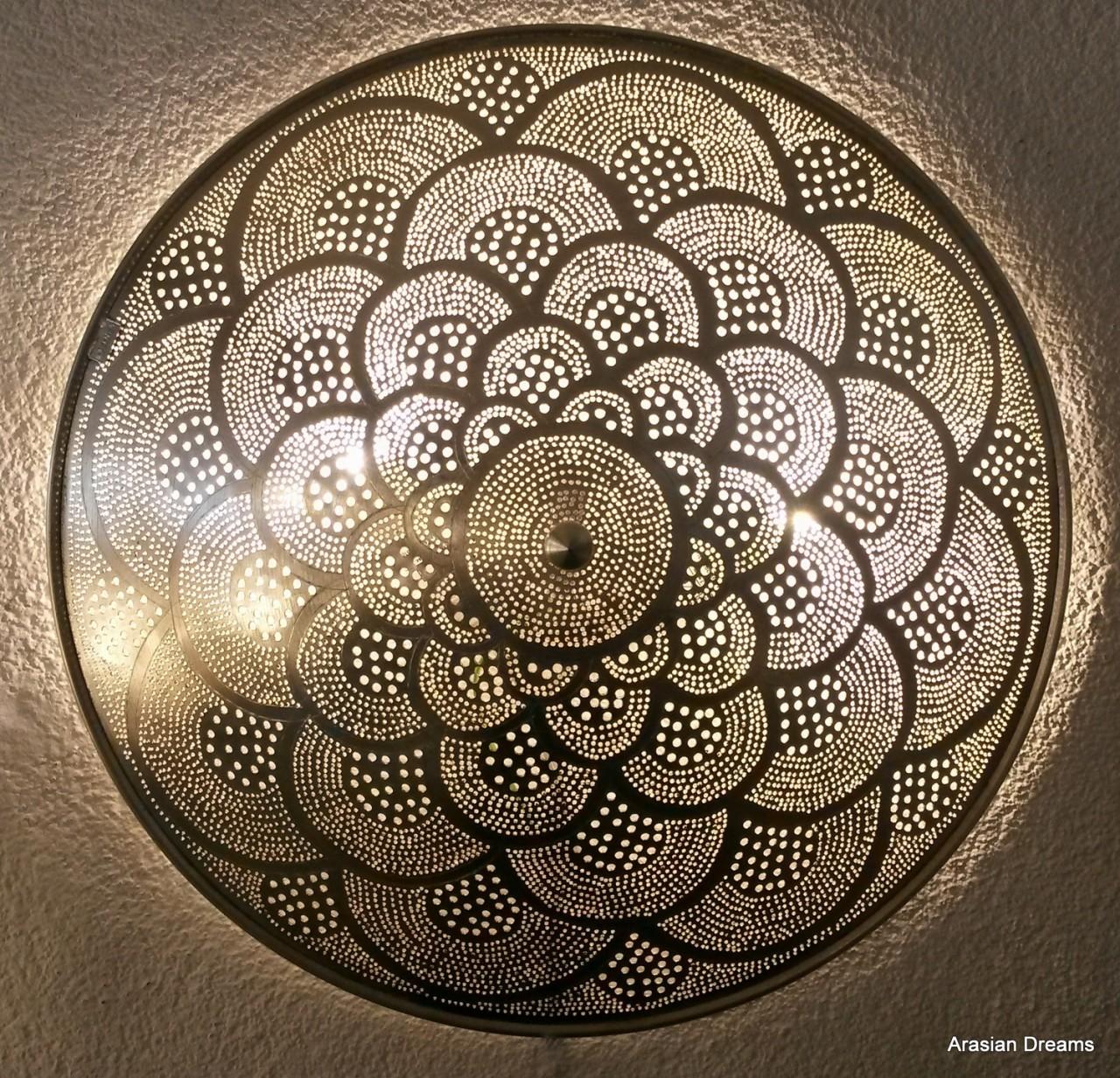 Wandlampe / Deckenlampe - 50 cm - Fan XLs - versilbert - Zenza