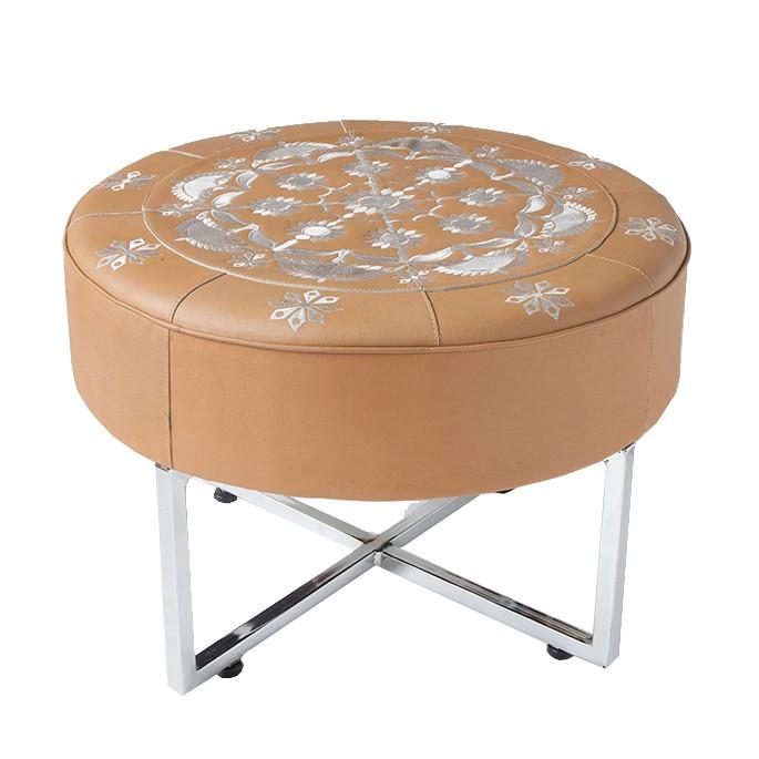 Zenza - Sitzhocker/ Beistelltisch - Leder beige - bestickt