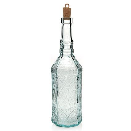 Glasflasche Fiesole 720 ml - klar - mit Kork - Kunsthandwerk - Van Verre