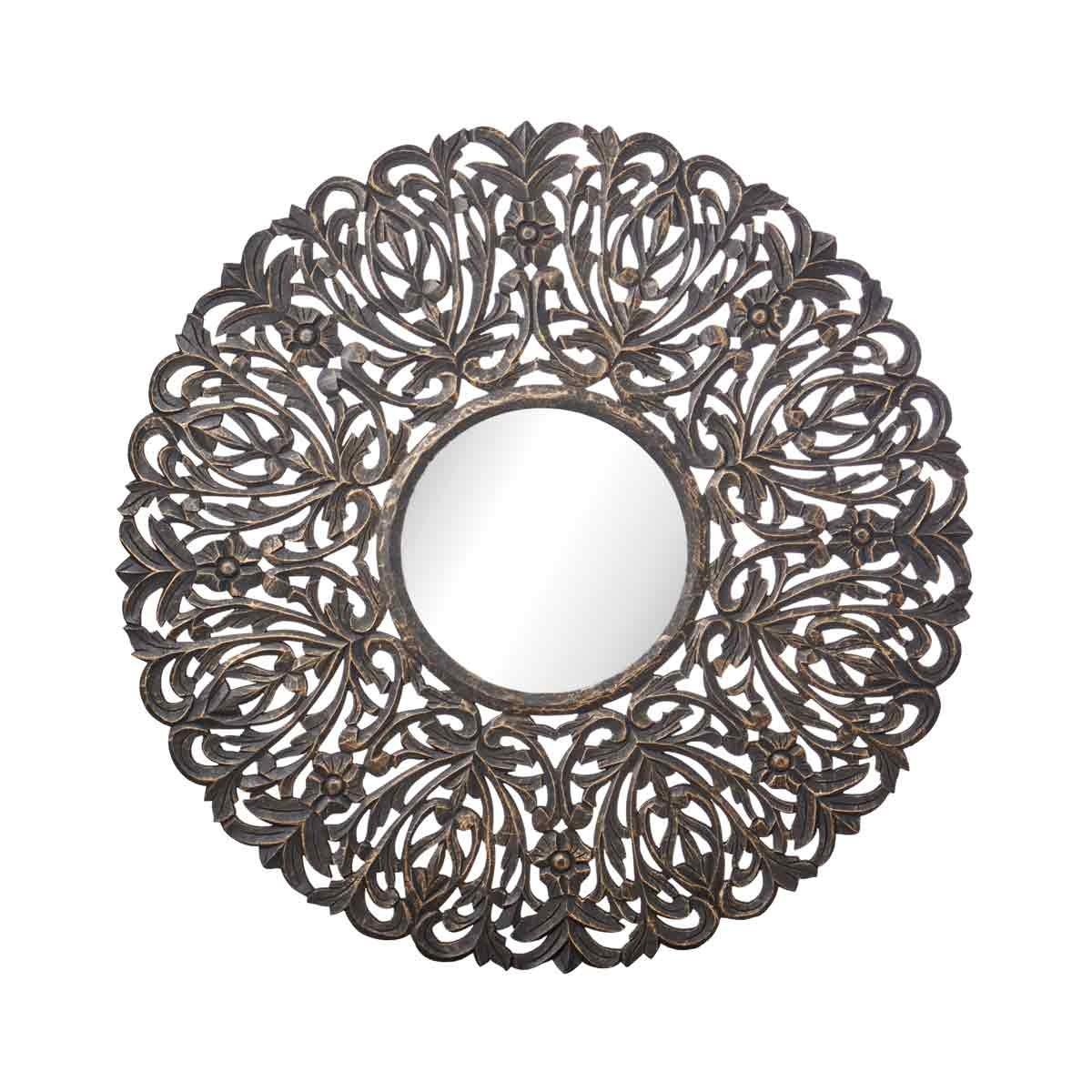 Wandbild-Spiegel / Wanddeko - D 90cm - Holz MDF schwarz/goldfarben lackiert