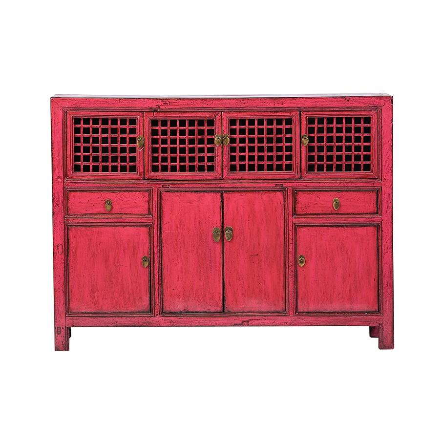 VERKAUFT Kommode - China Möbel - Rot - Original Hebei ca. 120 Jahre alt - seltenes Format