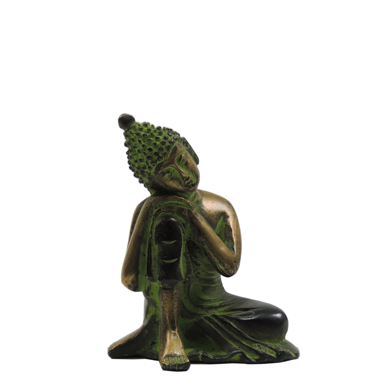 "Messingfigur ""Sleeping Buddha"" ca. 9 cm - goldfarben/braun/green Patina - Handwerk Indien"
