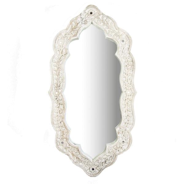 Spiegel Ghandi Mirror - Mangoholz bearbeitet - WhiteWash - Zenza