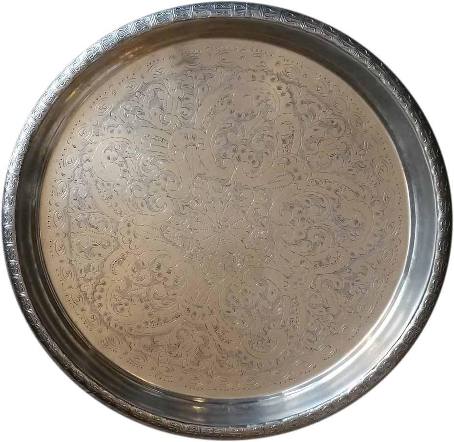 """Teetablett """"Marrakech"""" - C02- alt und aufbereitet - Messing versilbert - Einzelstück"""