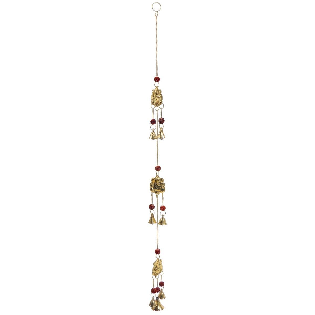 Windspiel 3erGlöckchen Ganesha – Messing / RudrakshaSamen – Handwerk Indien