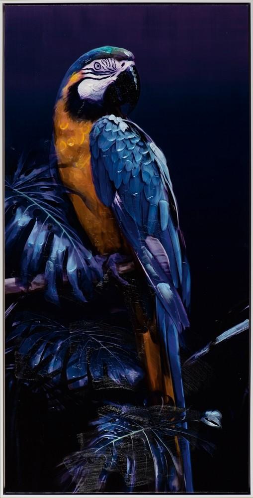 Wandbild - Parrot im Dschungel - auf Leinwand - 62.5 x 122.5 cm - bedruckt und handbearbeitet