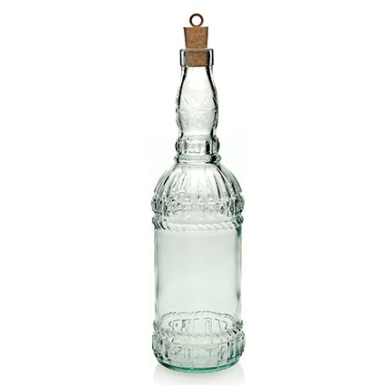 Glasflasche Assisi 720 ml - klar - mit Kork - Kunsthandwerk - Van Verre