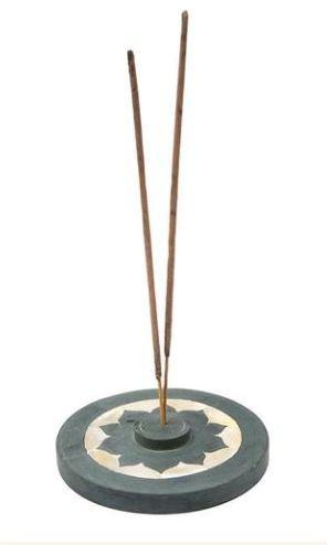 Räucherstäbchenhalter Lotus Speckstein mit Perlmutt