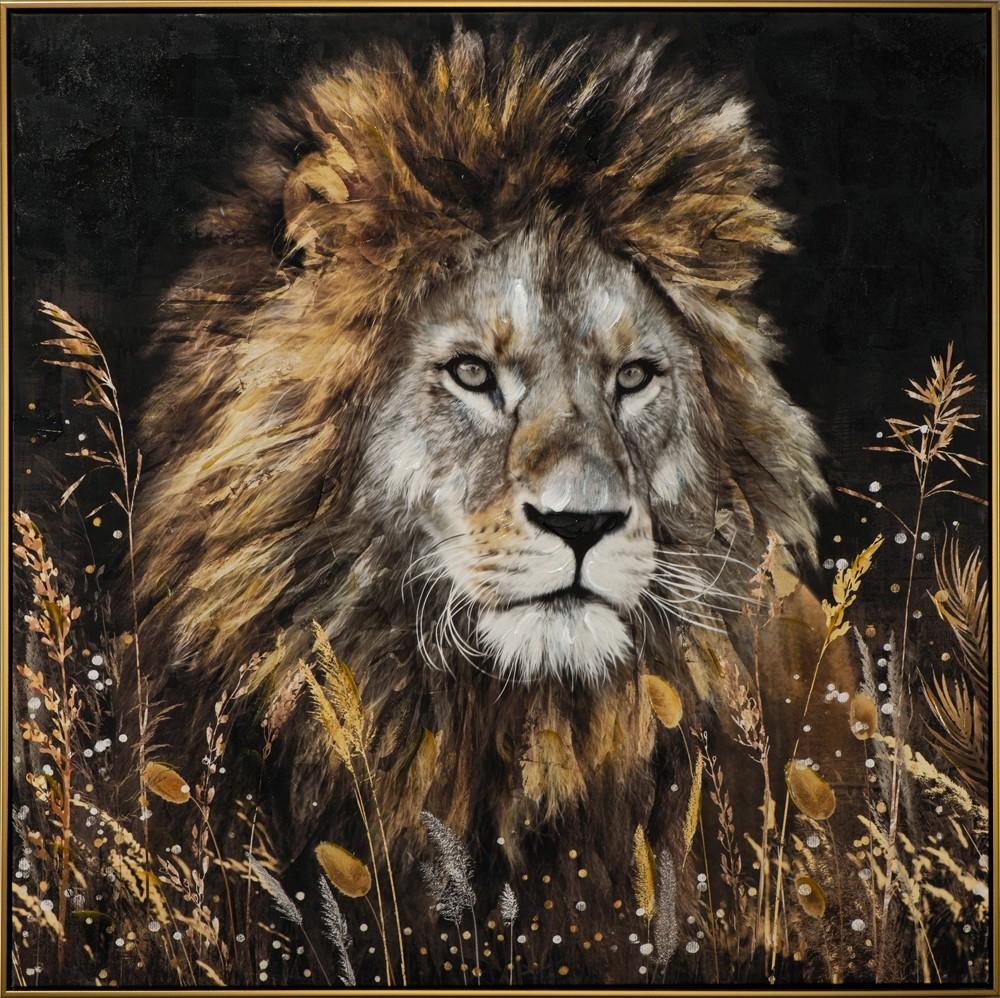 Wandbild - König der Tiere - auf Leinwand - 102.5 x 102.5 - handbearbeitet