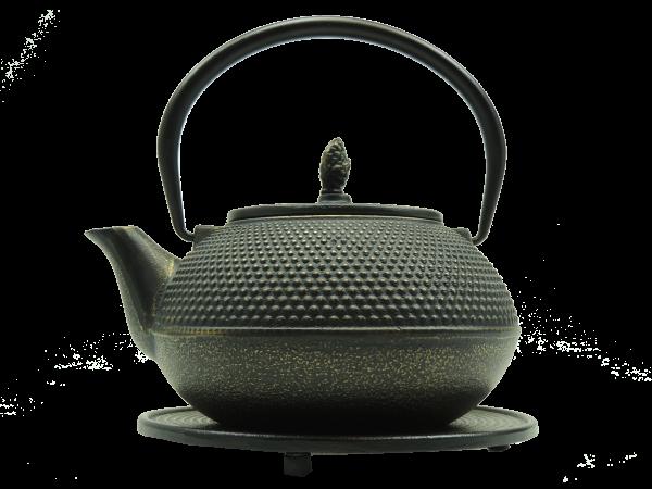 Teekanne Arare, 1.2 Liter, Schwarz/Gold, inkl. Untersetzer und Teesieb