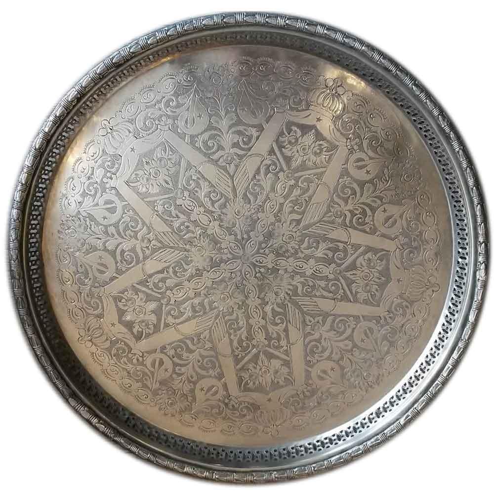 """Teetablett """"Marrakech"""" - C04- alt und aufbereitet - Messing versilbert - Einzelstück"""