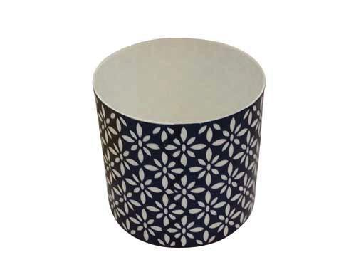 Windlicht Keramik, blau/weiss, Höhe 8,8 cm