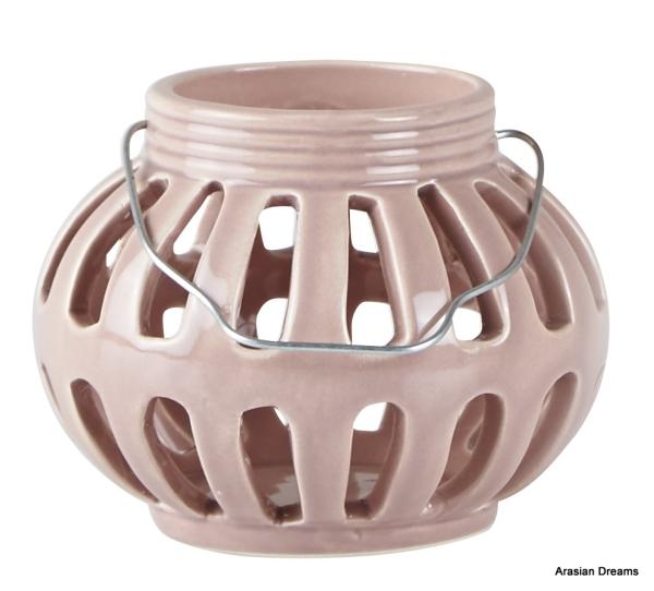 Windlicht m.Henkel - Rose - D 10,5cm - H8,0cm - KJ Collection
