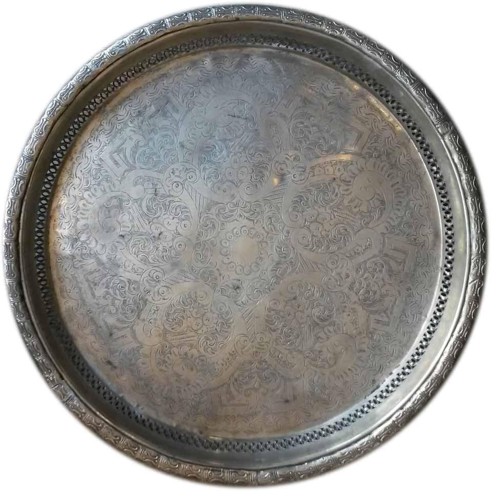 """Teetablett """"Marrakech"""" - C01 - alt und aufbereitet - Messing versilbert - Einzelstück"""