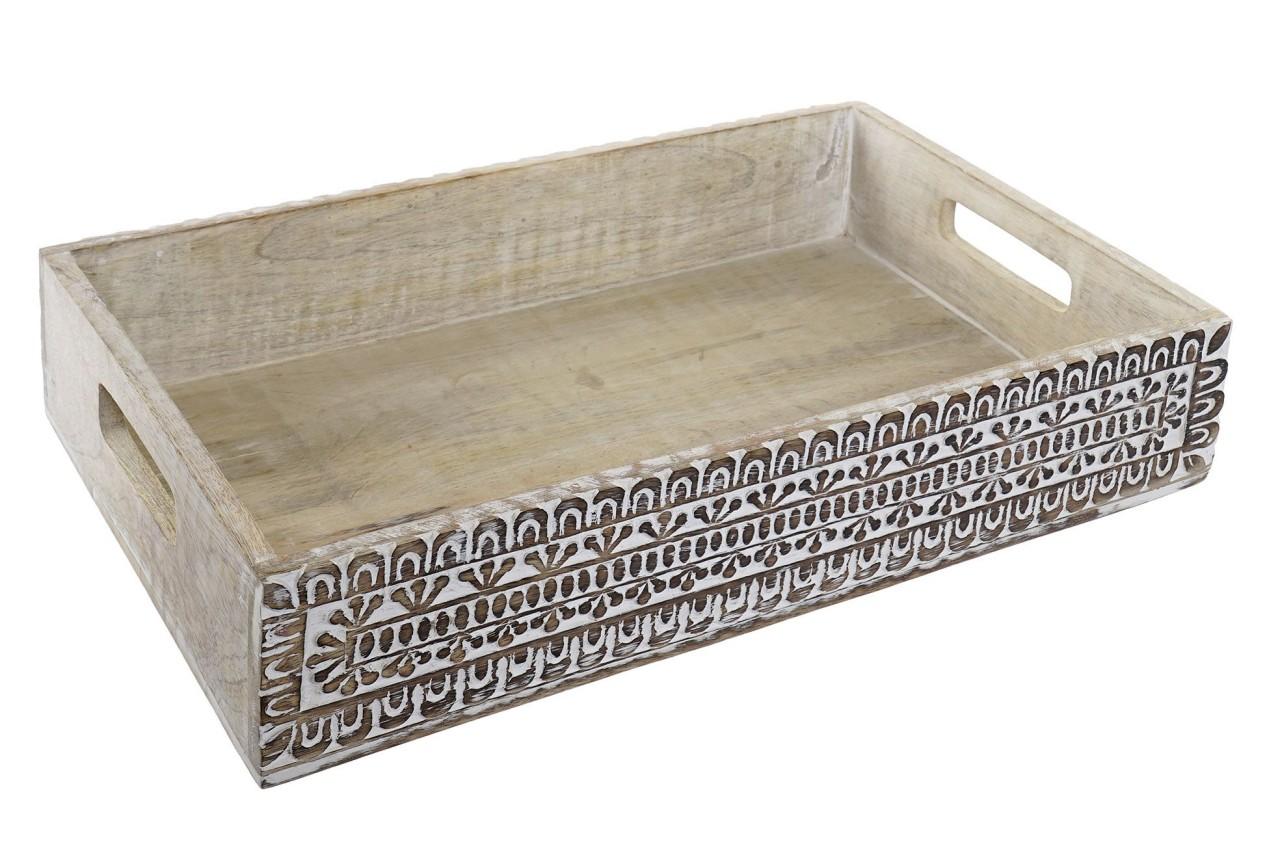 Tablett beschnitzt offen - Mangoholz - 38x25 cm - Handwerk Indien