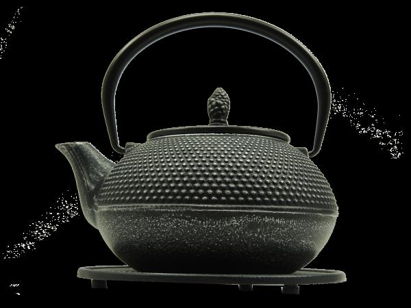 Teekanne Arare, 1.2 Liter, Silber/Schwarz, inkl. Untersetzer und Teesieb