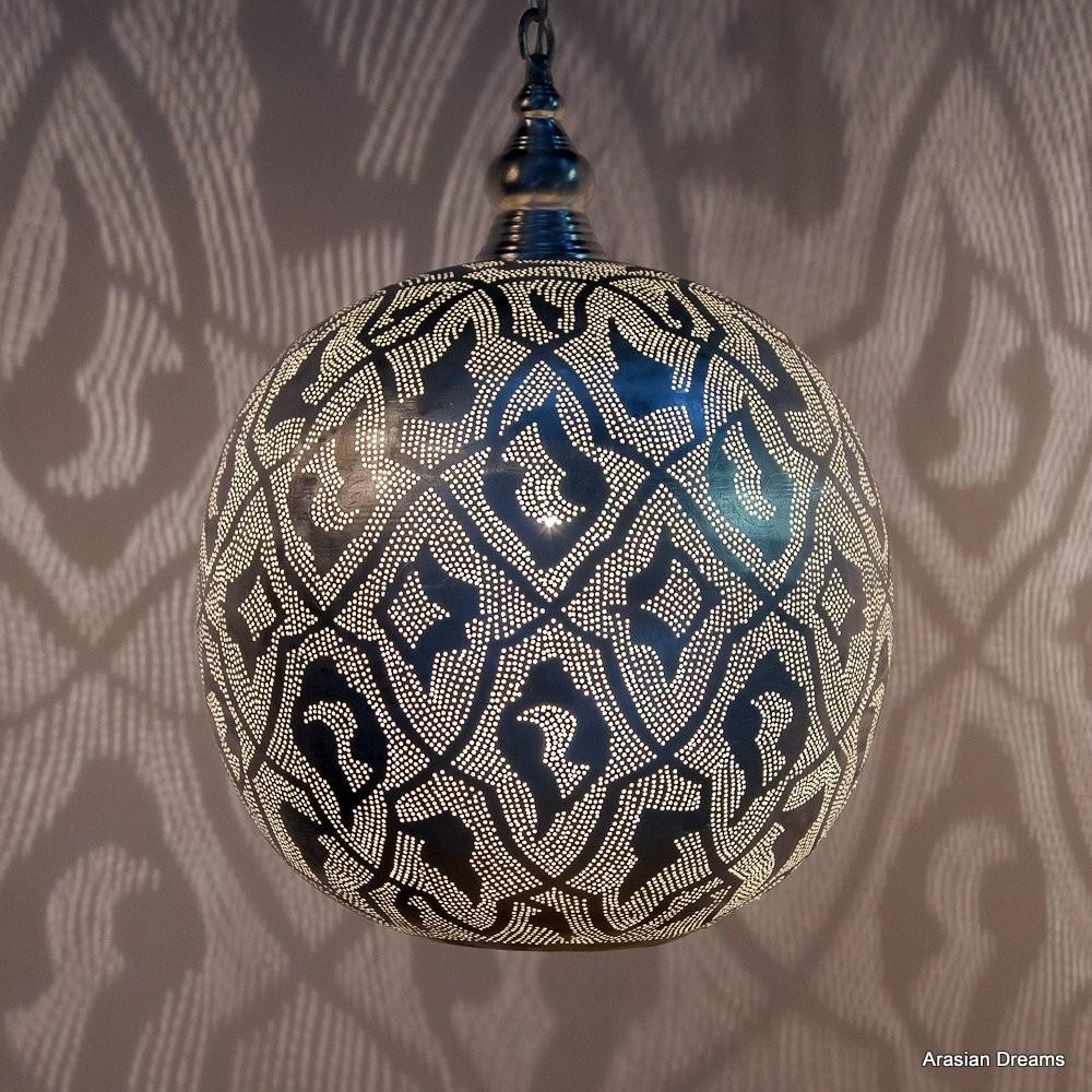 Hängelampe - Ball Filigrain XL - versilbert - Zenza