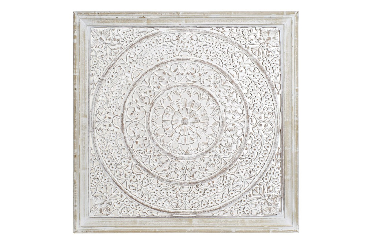 Wandbild / Wanddeko - 90 x 90 cm - Holz MDF whitewash